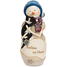 "The Birchhearts Pavilion Gift Company You Hug My Heart Snowman Figurine Holding Cat, 5"", White"