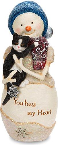 - Pavilion Gift Company The The Birchhearts - You Hug My Heart Snowman Figurine Holding Cat 5 Inch, 5