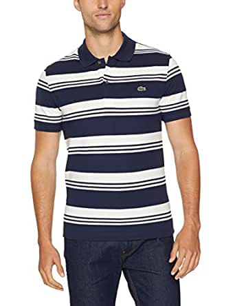 Lacoste Men's Slim Stretch Stripe Polo, Navy Blue/Flour, 03F