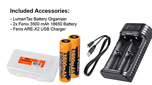 High Capacity Bundle: Fenix HL55 900 Lumens Headlamp with Two Genuine Fenix 3500mAh 18650 Rechargeble Batteries, Two Channel USB Charger and LumenTac Battery Organizer by Fenix (Image #1)