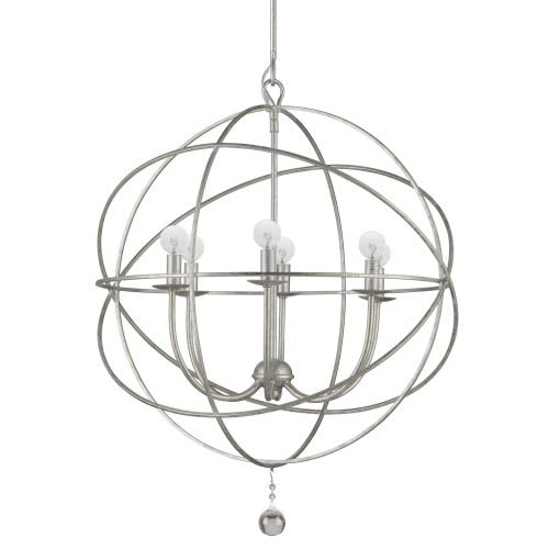 "Crystorama Lighting Group 9226 Solaris 6 Light 23"" Wide Wrought Iron Chandelier, Olde Silver"