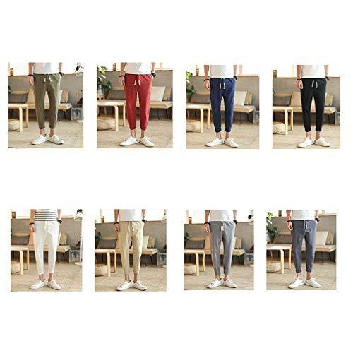 Lavoro Colour Uomo Unita Pantaloni Coulisse Con Da Casual Giovane c8 Moda Estivi Tinta aBw6xH0