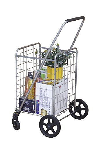 Wellmax WM99024S Grocery Utility Shopping Cart | Easily Collapsible and Portable to Save Space + Heavy Duty, Light Weight Trolley with Rolling Swivel Wheels by Wellmax