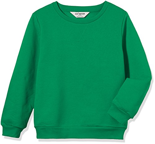 Kid Nation Kids' Slouchy Solid Brushed Fleece Sweatshirt for Boys Girls S Green