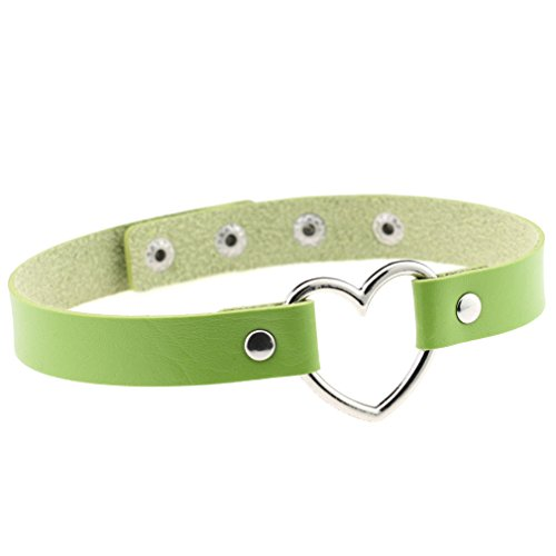 FM FM42 Green Heart Ring PU Simulated Leather Collar Choker Necklace 17.72