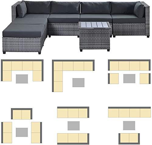 Garden and Outdoor Merax 7-PCS Wicker Conversation Furniture Set, Patio Sofa and Table Set w/Outdoor Rattan Sofa Set for Balcony Backyard… patio furniture sets