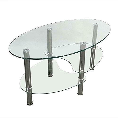 Lovely999 Modern Three-Layer Dual Fishtail Style Table Glass Coffee Top Mid Century Tempered Glass CoffeeTable Transparent Square