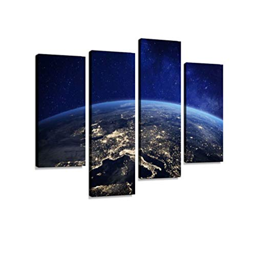 Europe at Night from Space, City Lights, Elements from NASA Canvas Wall Art Hanging Paintings Modern Artwork Abstract Picture Prints Home Decoration Gift Unique Designed Framed 4 Panel