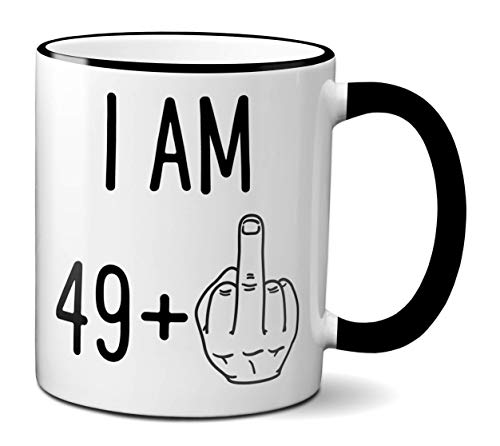 Funny 50th Birthday Gift for Women or Men | Turning 50 Years Old Happy Birthday Coffee Mug | Gag Novelty Cup | Fiftieth Bday Party Celebration | Adult Birthday Presents (11oz, black rim & handle)