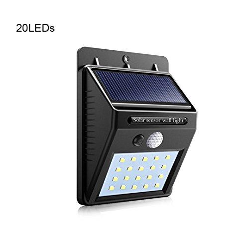 Solar Light Outdoor Wall LED Solar Lamp With PIR Motion Sensor Night Security Bulb Street Yard Path Garden Lamp 20LEDs ()