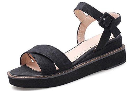 mujeres pastel tamaño de zapatos Canción corteza sandalias cómodos Roma Xiaji gran gruesa de Black planos xrfqrw0Avg