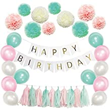 Party Decoration Favors Happy Birthday Decorations Banner White Black Latex Balloons with Tissue Paper Pom Poms Balls for Party Decorations Supplies Happy Birthday Party Decoration Pack