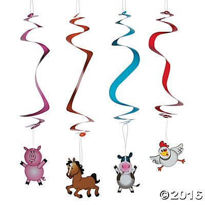 Barnyard Animal Farm Party Hanging Swirl Decorations - 12 pc by Party (Farm Animals Hanging)