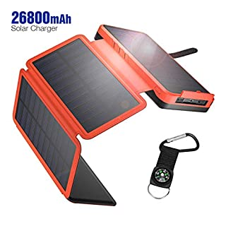 IEsafy Solar Charger 26800mAh, Outdoor Solar Power Bank with 4 Foldable Solar Panels and 2 High-Speed Charging Ports for Smartphones, Tablets, Samsung, iPhone, etc, with Waterproof LED Flashlight