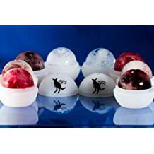 Happy Roo Slow Melting Ice Orb - 2 Pack Large silicone ice molds. Japanese Round Ice Balls. Perfect for Parties. Freeze Ice Cream for kids or use for Sangria, Wine Coolers, Juice, and Fruit. Great for Bartenders & Entertainers. Save Money. Cheaper than Ice Ball Press.