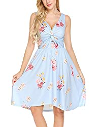 Se Miu Womens Chic Sleeveless Floral Print High Waist Cocktail Party Swing Dress Blue