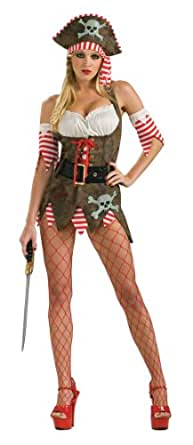 Secret Wishes Women's Pirate Queen Adult Costume Mini Dress, Multicolor, Small