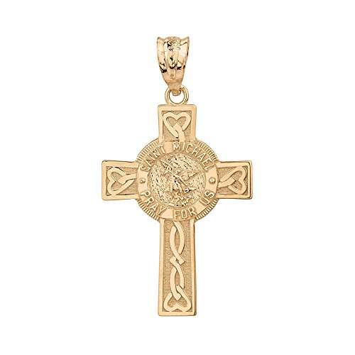 Solid 14k Yellow Gold Saint Michael Pray For Us Celtic Cross Pendant