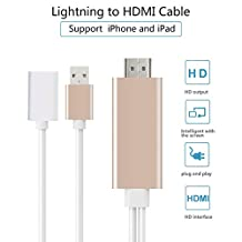 Lightning to HDMI Adapter Cable,8 Pin 2M Lighting Digital AV to HDMI HDTV 1080P Cable Converter Adaptor Connector for iPhone 7 7 Plus 6s 6s Plus 6 6 Plus 5 5c 5s SE, iPad Air/Mini/Pro, iPod Touch (Gold)