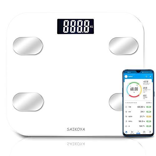 体重計 体脂肪計 体組成計 ヘルスメーター bluetooth スマホ連動 USB充電式 アプリと同期 体重/BMI/体脂肪率/筋肉量/体水分率/内臓脂肪レベル/骨量/基礎代謝量8項目測定可能 デジタル ボディスケール スマートスケール ホワイト