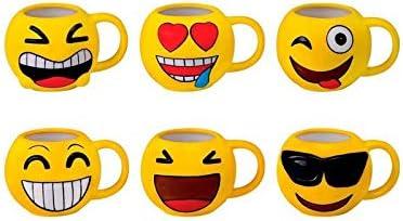 DISOK Lote 12 Tazas Emoticonos - Regalos de Comuniones Niños/Niñas - Tazas Emojis, Emoticonos para Niños, Infantiles, Juveniles. Mugs Desayuno para Regalos y Detalles de Bodas, Bautizos, Comuniones