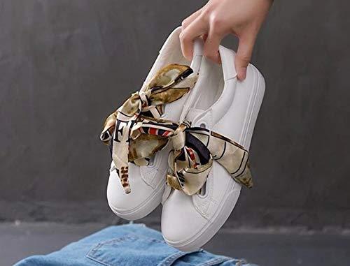 Encaje Cinta Zapatillas Zapatos Blancos Graffiti Al nbsp; Mujer nbsp; De Aire Blancos Ocasionales Ysfu Libre Planos nbsp;ligeros Casuales tvwSS