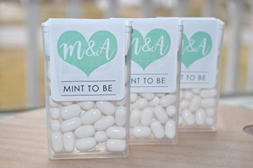 Mint To Be Tic Tac Labels Bridal Shower Favors, Wedding Favors, Bachelorette Party Large Heart - Set of 24 Labels