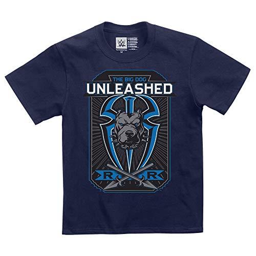 (Roman Reigns Big Dog Unleashed Youth T-Shirt Navy Blue Medium )