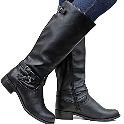 Dellytop Womens Wide Calf Riding Boots Low Heel Buckle Strap Side Zip Up Faux Leather Shoes