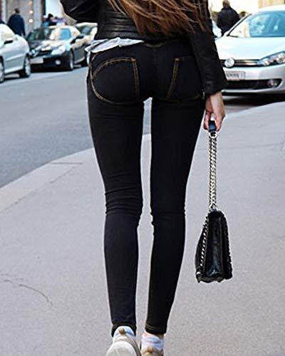 Jeans Femmes Crayon lastique Basse Pantalon QitunC Noir Skinny Taille Leggings Denim Pantalons tFqa7qwxR8