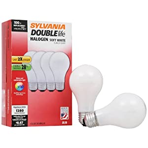 SYLVANIA Halogen Lamp Double life/Dimmable Light Bulb A19/Energy-saving replacement for 100W Incandescent/Medium base E26/72 Watt/2800K – soft white, 4 Pack