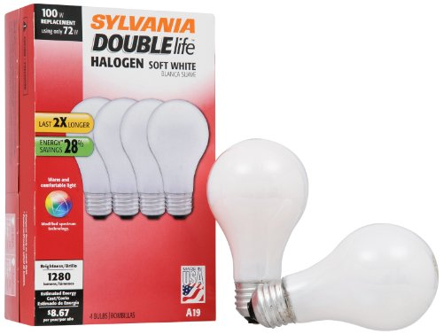 (SYLVANIA Halogen Lamp Double life / Dimmable Light Bulb A19 / Energy-saving replacement for 100W Incandescent / Medium base E26 / 72 Watt / 2800K - soft white, 4 Pack (50044))
