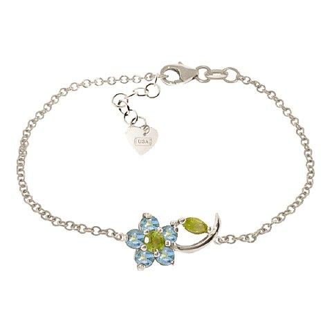 QP joailliers Topaze Bleu naturel & Peridot Bracelet en or blanc 9carats, 0.87CT-5040W