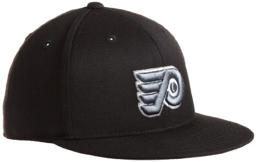 NHL Philadelphia Flyers Game Day Black Pro Shape Flat Brim Flex Cap- Tx79Z, Black, Large/X-Large