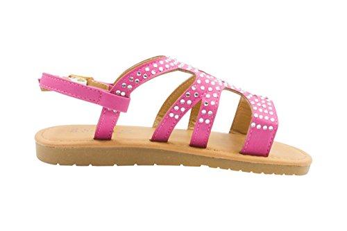 Sara Z Toddler Girl's Strappy Rhinestone Studded Flat Sandals 9/10 Fuchsia