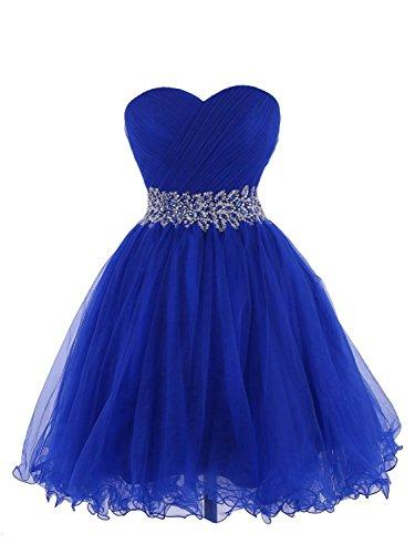 de Vestido cóctel Vestido Corto Noche Tul Azul de Vestido Vestido JAEDEN Mujer Homecoming Fiesta Real Tirantes de de Sin OqvSPI