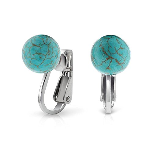 - Simple Blue Stabilized Turquoise Gemstone Bead Round Ball Clip On Earrings 925 Sterling Silver 8MM December Birthstone