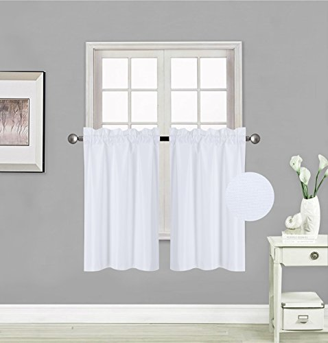 - GorgeousHomeLinen (RS5) 1 Panel of Kitchen Rod Pocket Thermal Insulated Foam Backing Room Darkening Blackout Window Tier Drape Short Curtain 30