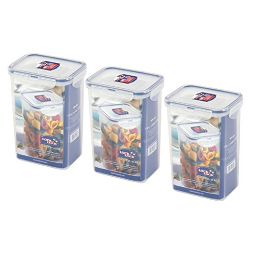 (Pack of 3) LOCK & LOCK Airtight Rectangular Tall Food Storage Container 43.96-oz / 5.49-cup