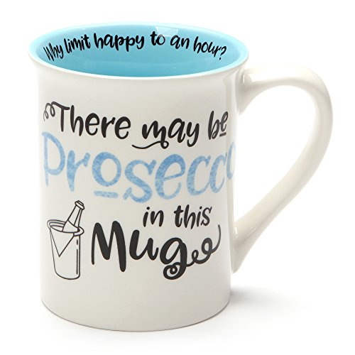 Enesco 6001249 Our Name is Mud May Be Prosecco, 16 Ounce, Blue Stoneware Mug,