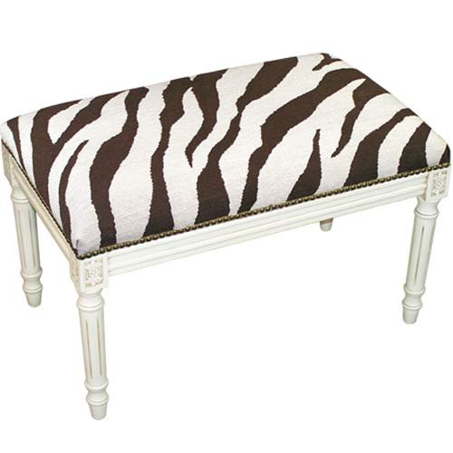 Zebra Needlepoint (123 Creations C728EWBC Zebra in Brown Needlepoint Bench in White Wash - 100 Percent Wool)