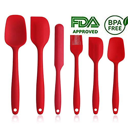 - Silicone Spatula Set - 6 Piece Non-Stick Rubber Spatula Set with Stainless Steel Core - Heat-Resistant Spatula Kitchen Utensils Set for Cooking, Baking and Mixing - Red