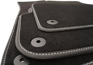 Fußmatten Velours Passend Für A3 S3 Rs3 8p Premium Qualität Autoteppiche Anthrazit 4 Teilig Ziernaht Weiß Auto
