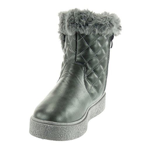 Flat Snow Shoes Quilted 5 Fashion Grey cm Fur Boots Ankle Angkorly Booty Women's 3 Boots Heel H1xvvY
