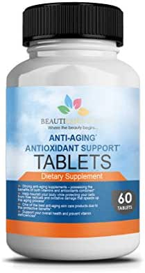 BeautiEssentials Anti-Aging Antioxidant Support Supplement (60 Tablets) Nourishing Vitamins A, C, E | Promotes Healthy Collagen | Fights Free Radicals, Oxidative Stress