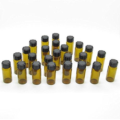 1/3 Oz 10mL Liquid Sampling Glass Bottles Clear Vials Screwcap Lab Container Pack of 50