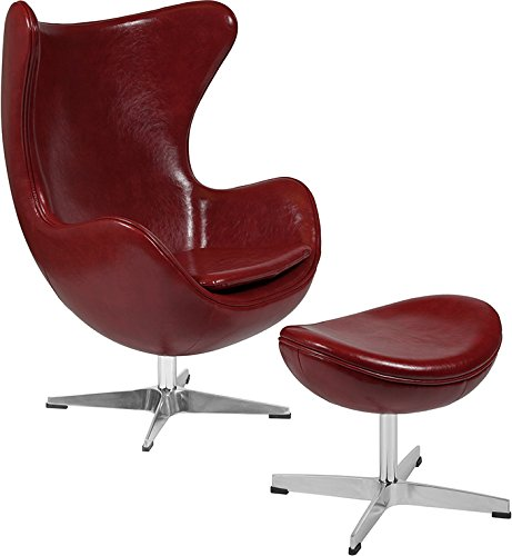 Retro Style Cordovan Leathersoft Egg Chair with Tilt-Lock Mechanism and Ottoman