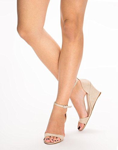 NLY Shoes Women's Mid Heel Wedge Sandal Nude Size EU 38 fabric materials. inside of faux leather. rubber outsole.