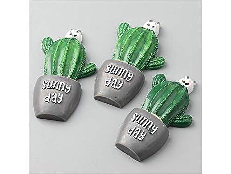 Adorno artesanal Forma de cactus Horquillas Broche que hace las etiquetas engomadas del refrigerador del ornamento