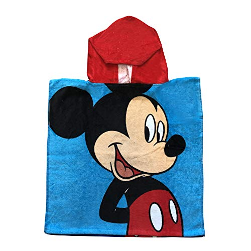 Disney Mickey Mouse Big Mickey on Front and Mickey Hold up Mickey Sign Polka dots Poncho Hooded Towel